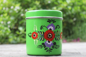 Hand Painted Container – Green Flowered Steel Box Canister(Set Of 2)