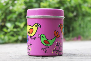 Hand Painted Steel Box Canister – Pink Bird Design (Set Of 2)