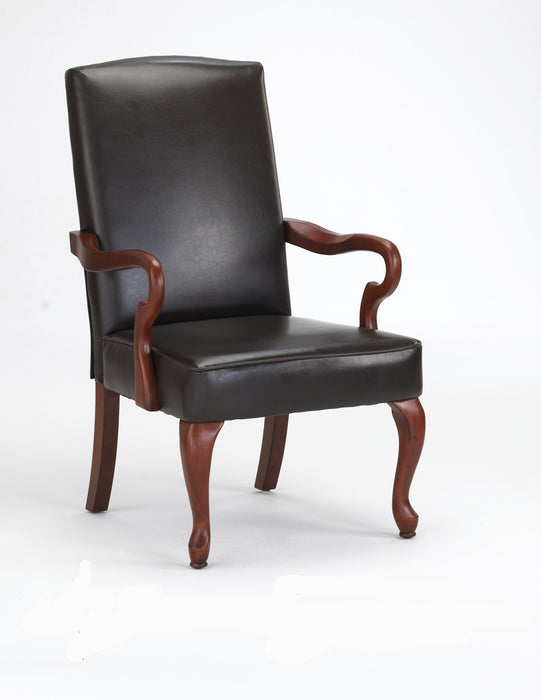 Derby Brown Leather Gooseneck Arm Chair