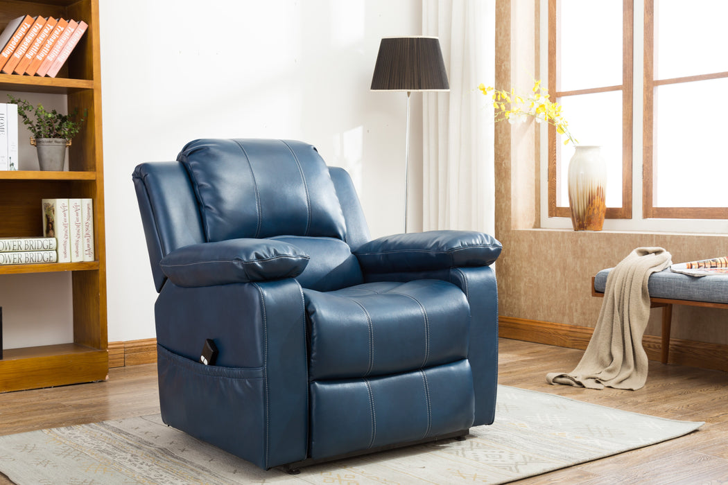 Spence Navy Blue Leather Gel Lift Chair