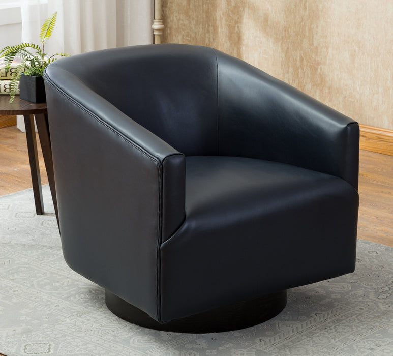 Gaven Midnight Blue Wood Base Swivel Chair