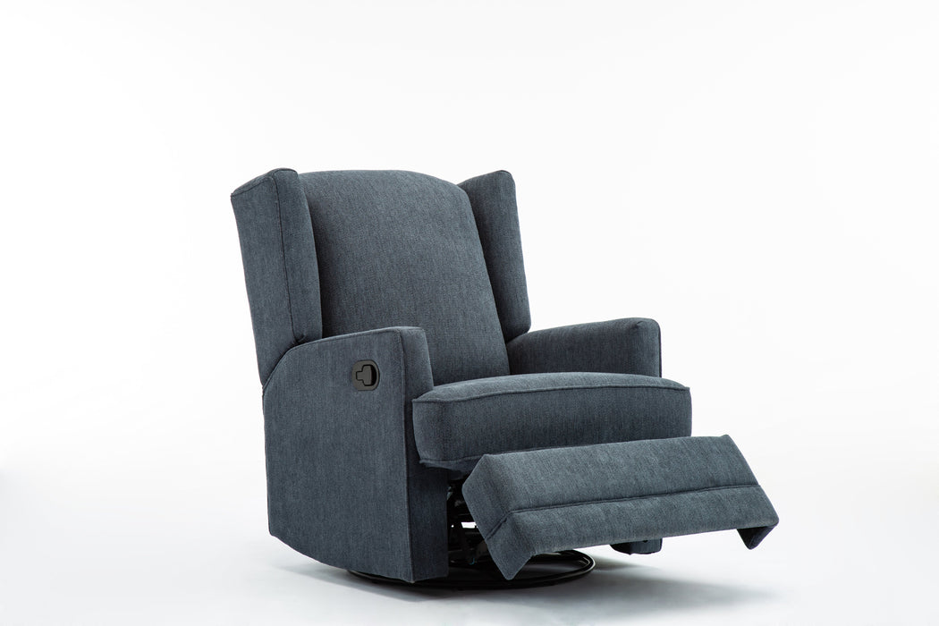 Serelda Blue Wingback Swivel Glider Recliner