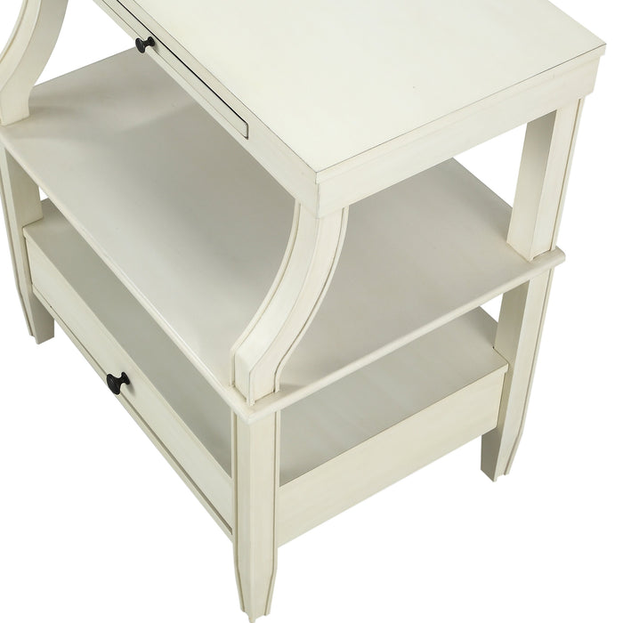Newton Antique White Storage Nightstand