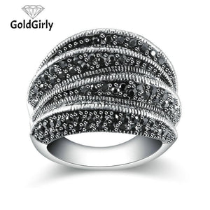 Bague sertie de cristaux Noirs Marcasite Blink Fashion Design