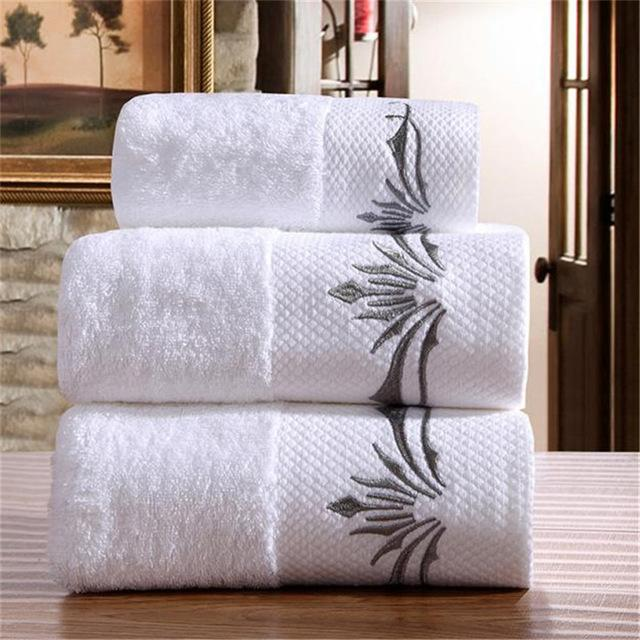 Ensemble serviette de bain White Hotel Super absorbant Couronne brodée Coton