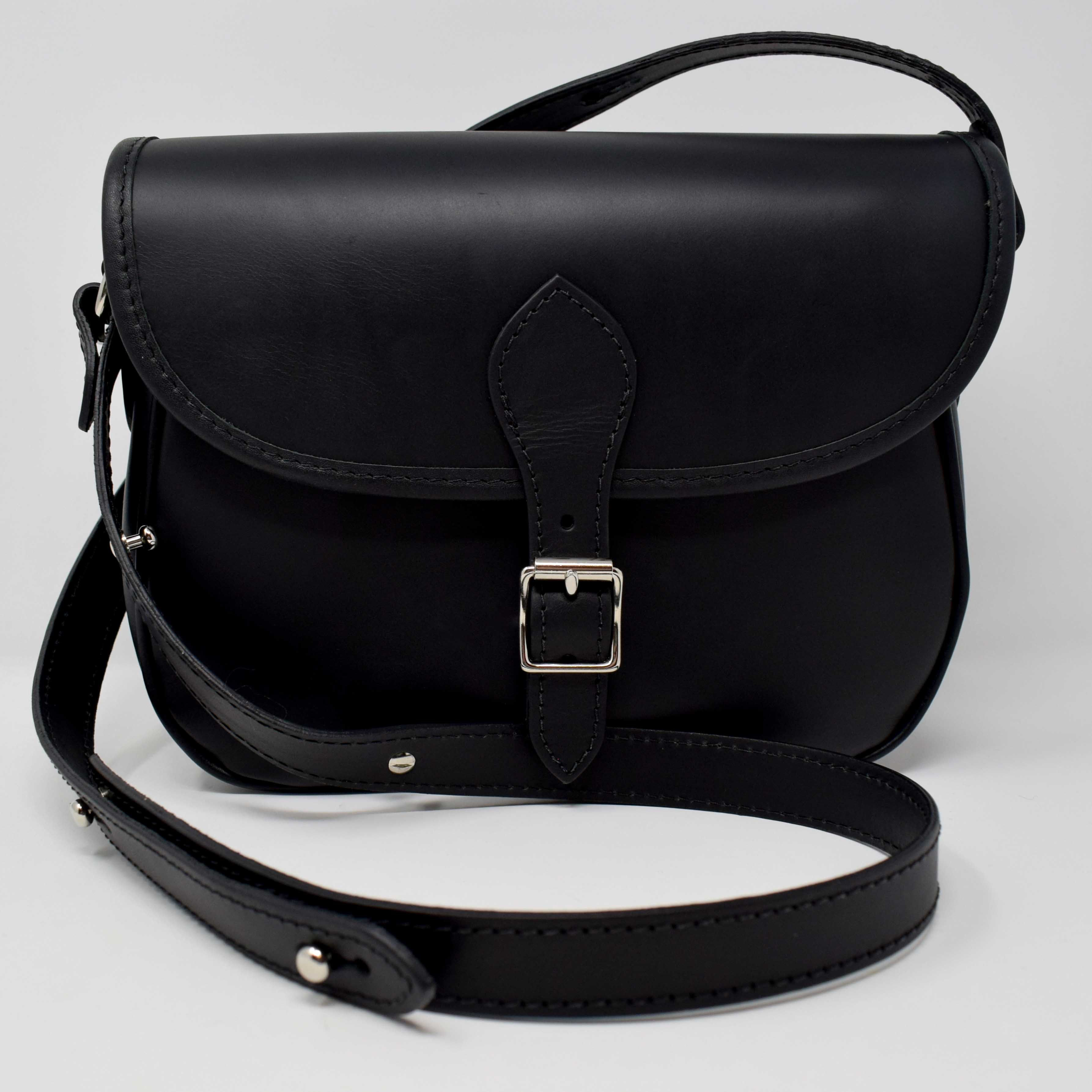 Luxury Black Leather Saddle Bag