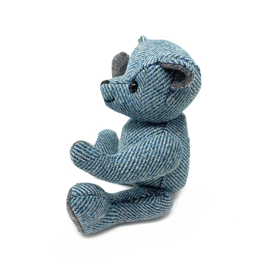 Blue Herringbone Teddy Bear - Small