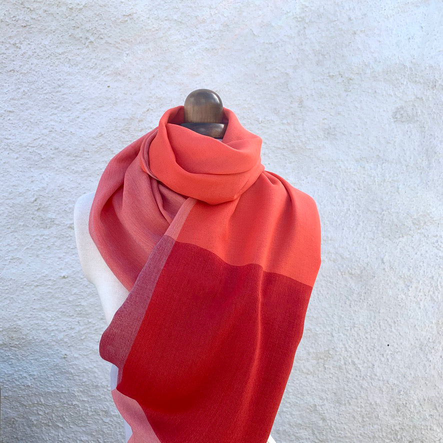 Coral Red Scarf