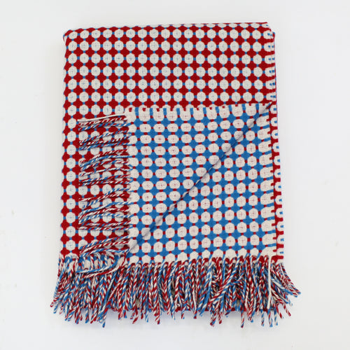 Honeycomb Blue & Red Throw