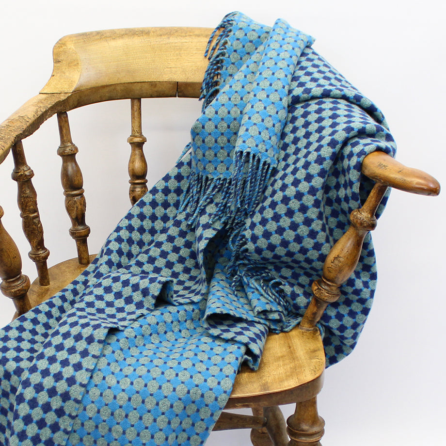 Supersoft Honeycomb Throw - Blue & Teal