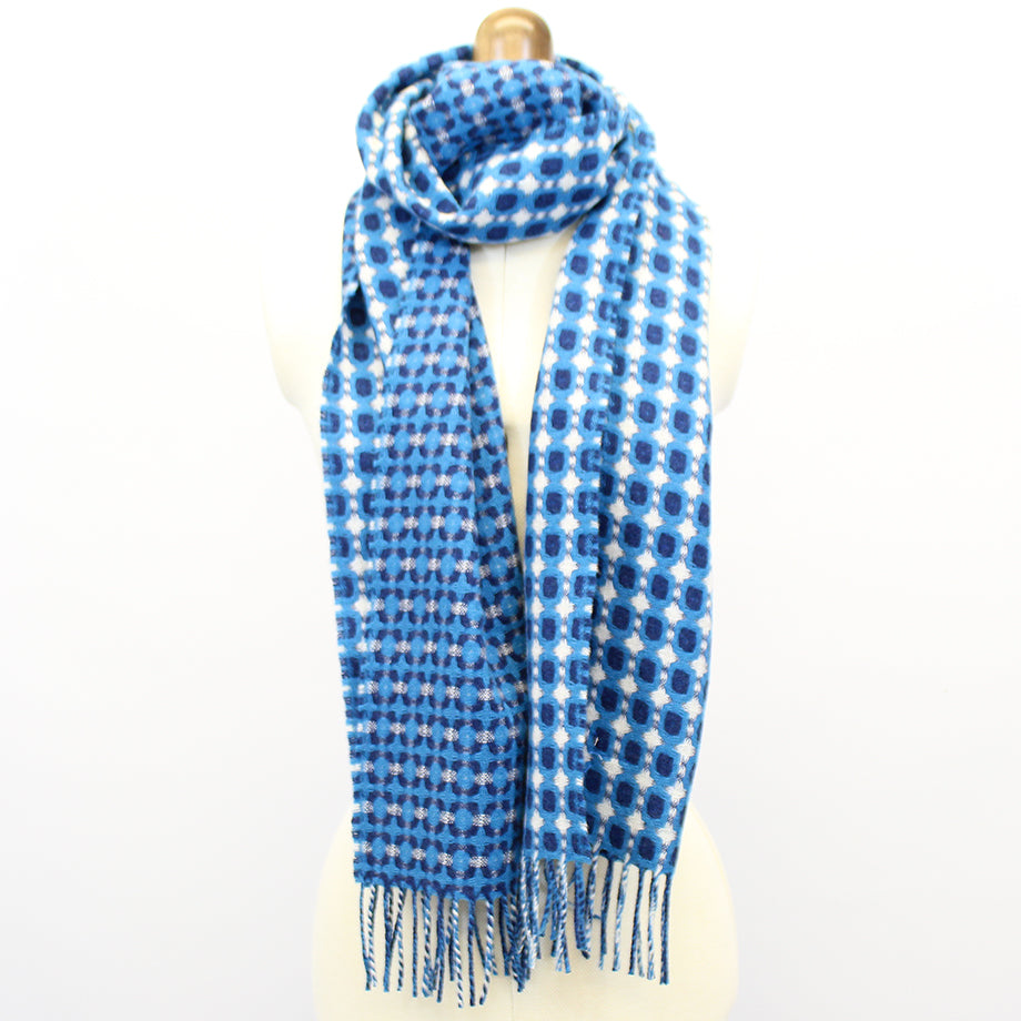 Blue geometric Geelong scarf