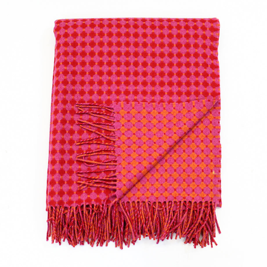 Supersoft Honeycomb Throw - Pink & Red
