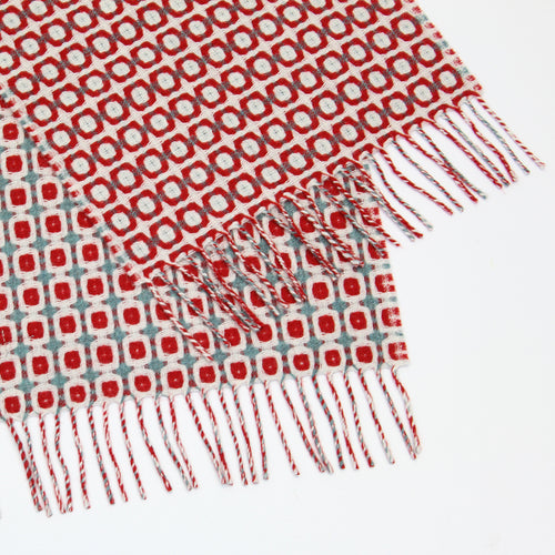 Red geometric Geelong scarf