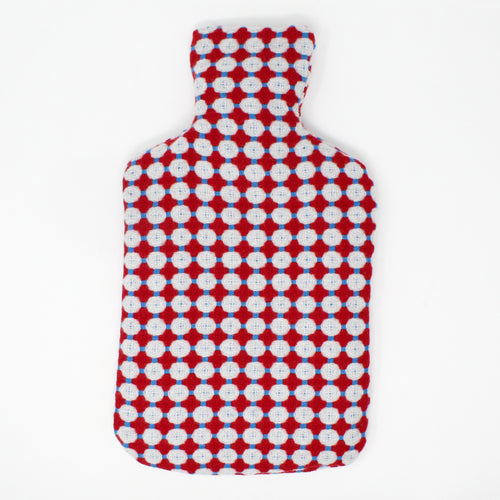 Honeycomb Blue & Red Hot Water Bottle