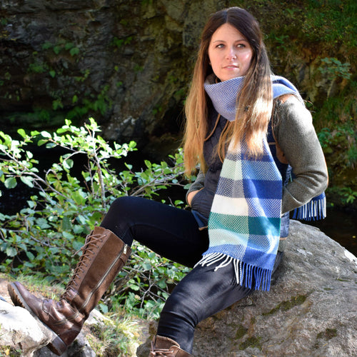 Green Herringbone Scarf