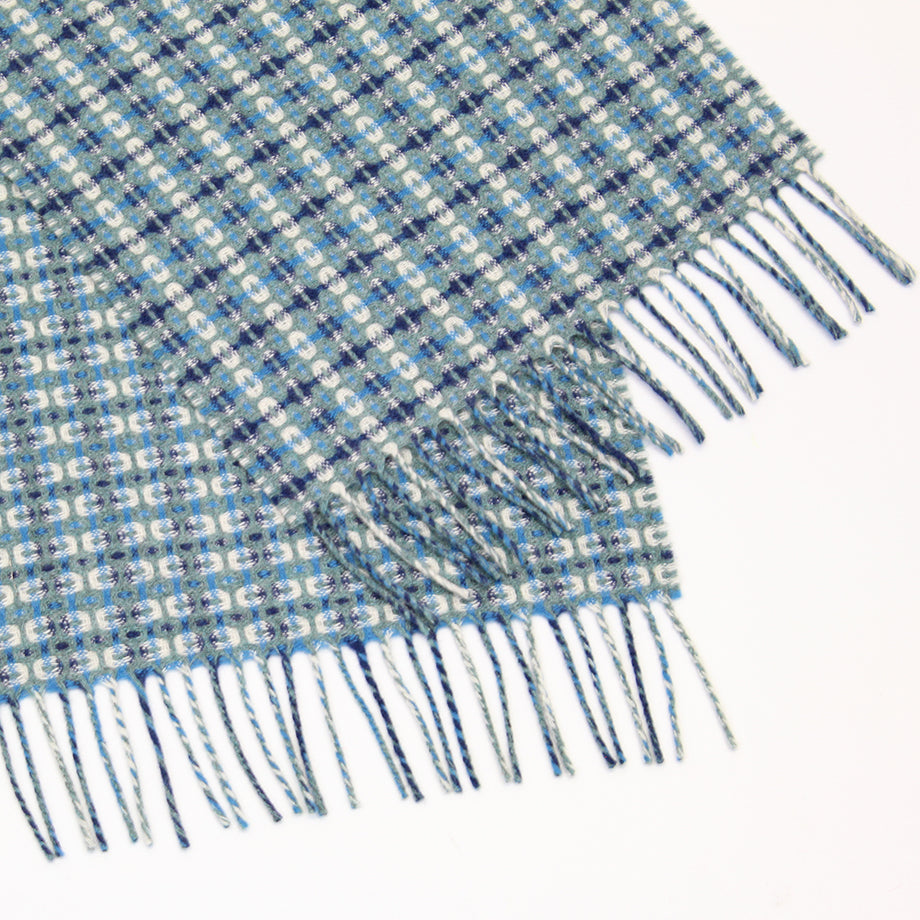 Blue super soft Geelong geometric scarf