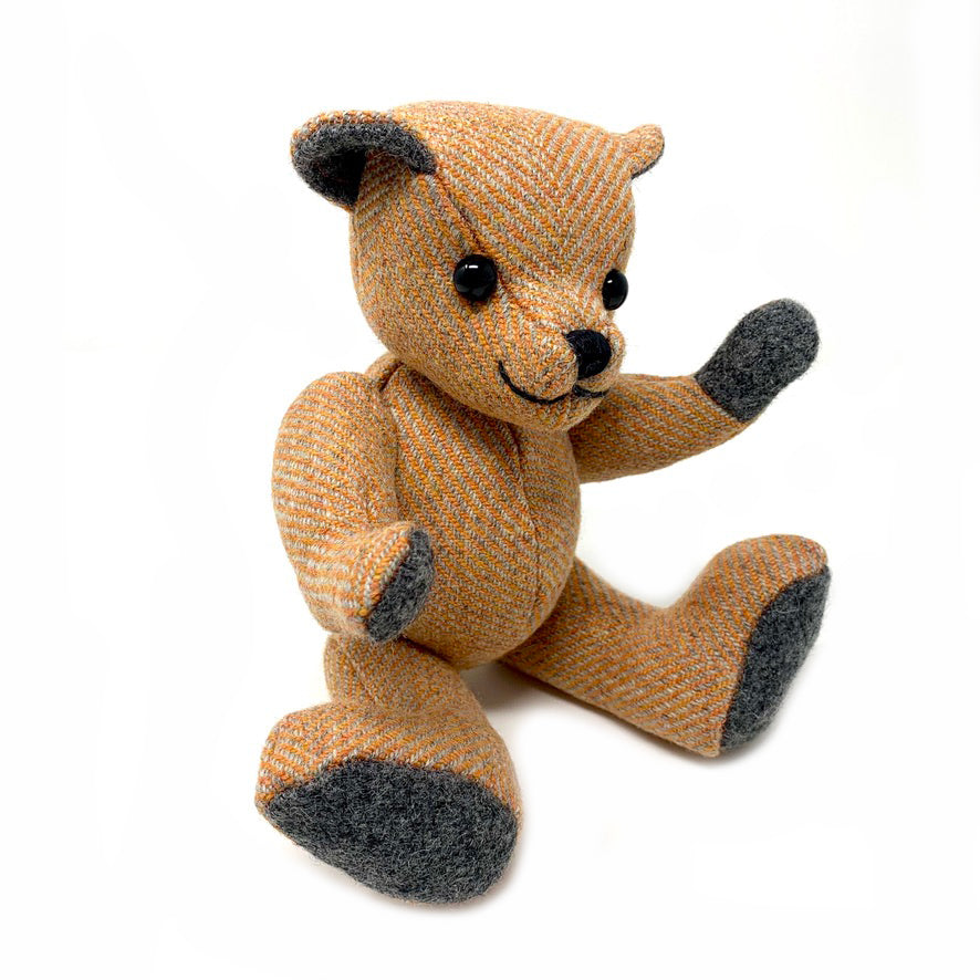 Orange Herringbone Teddy Bear - Small