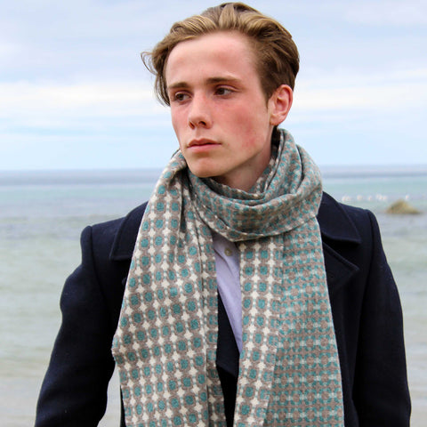 Supersoft Mosaic Scarf - Grey, Teal & Midnight