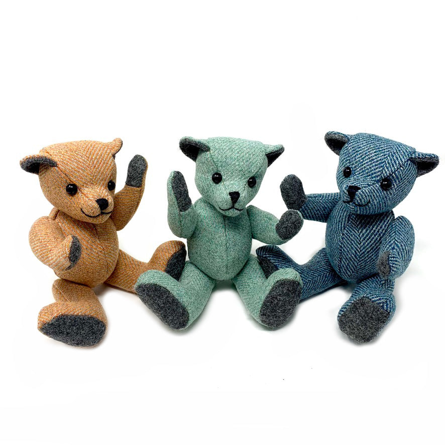 Mint Herringbone Teddy Bear - Small