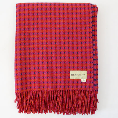 Honeycomb Pink & Navy Throw
