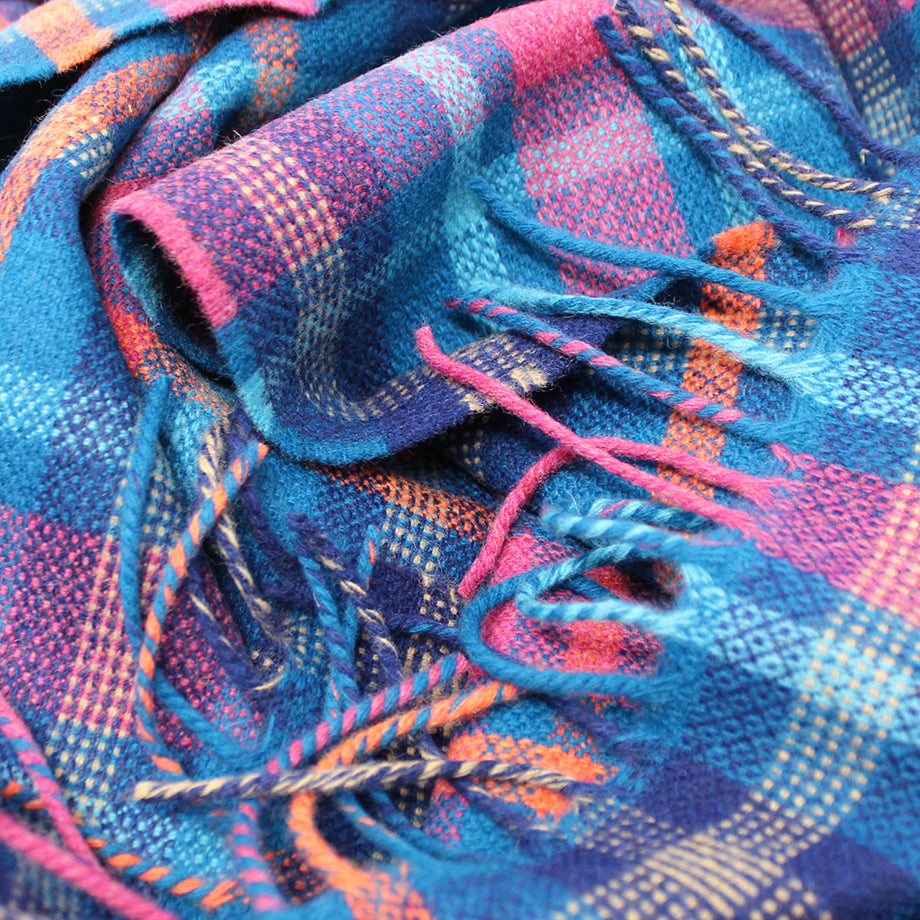 Festive Pink Check Scarf