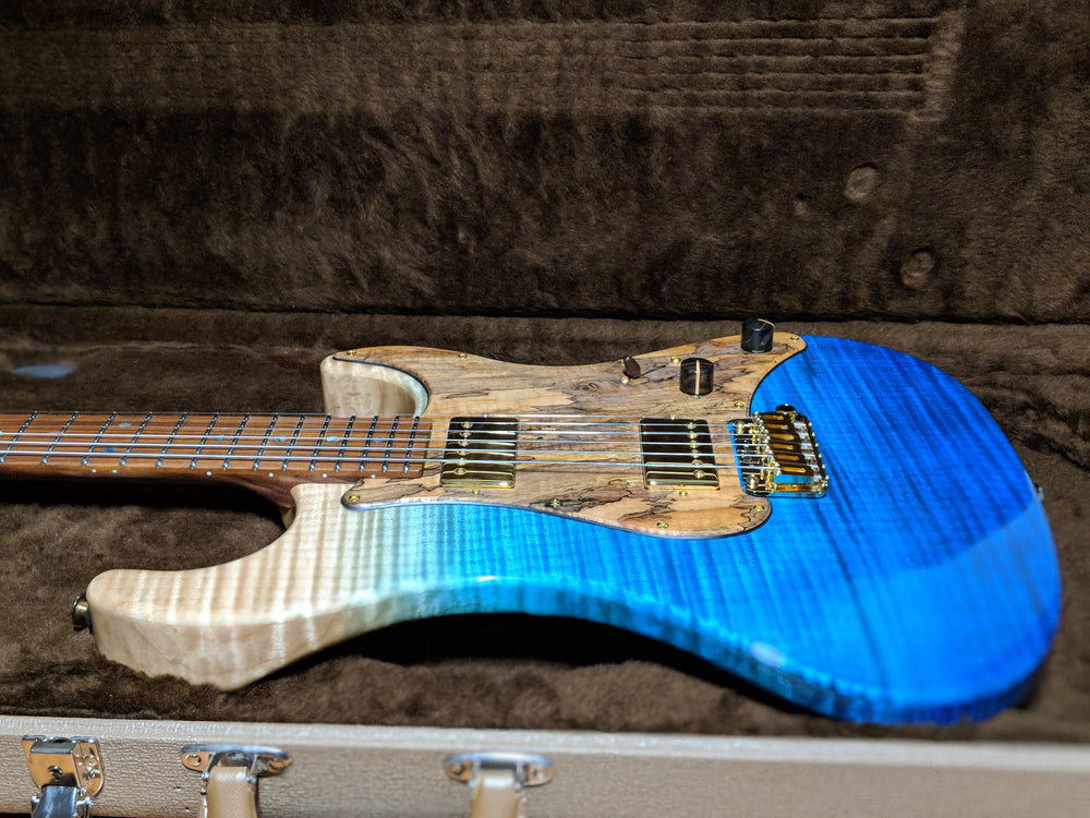 Melancon Classic Artist 1-PC Flame Maple Body in Aqua Gradient