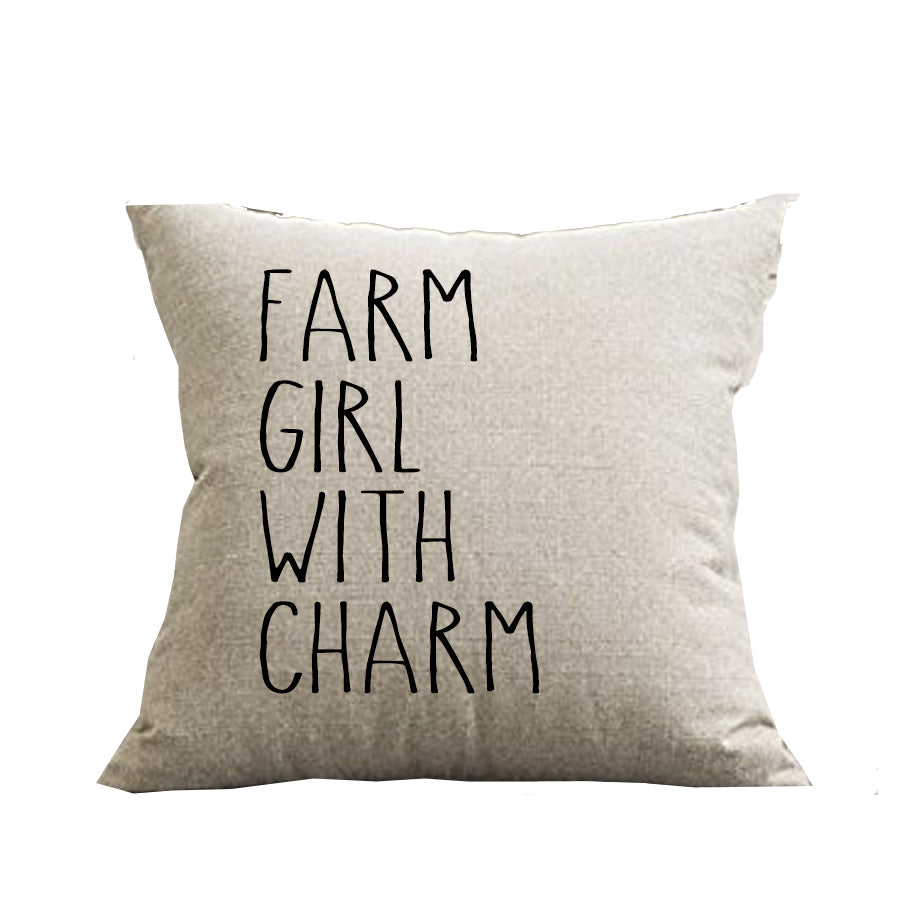 Farm Girl With Charm Pillow Cover