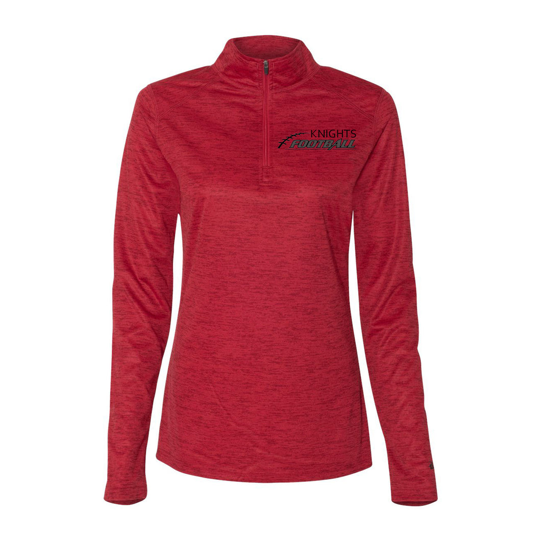 Ladies Red Qtr Zip