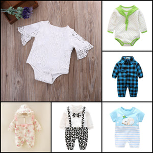 Baby rompers and baby bodysuits
