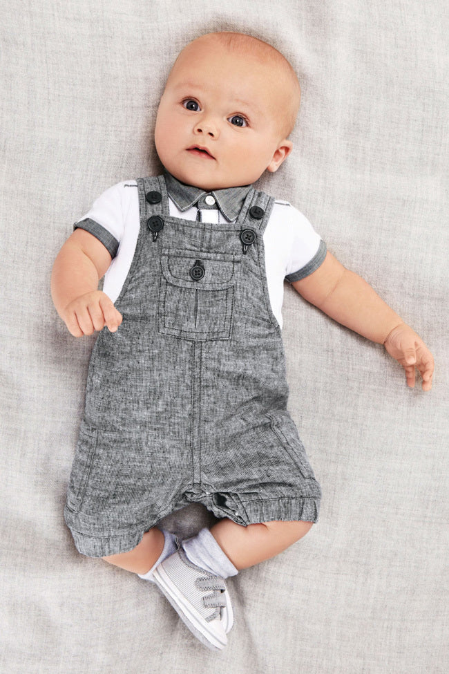Cute Polo T-Shirt with English Style Overalls - 2pc Set