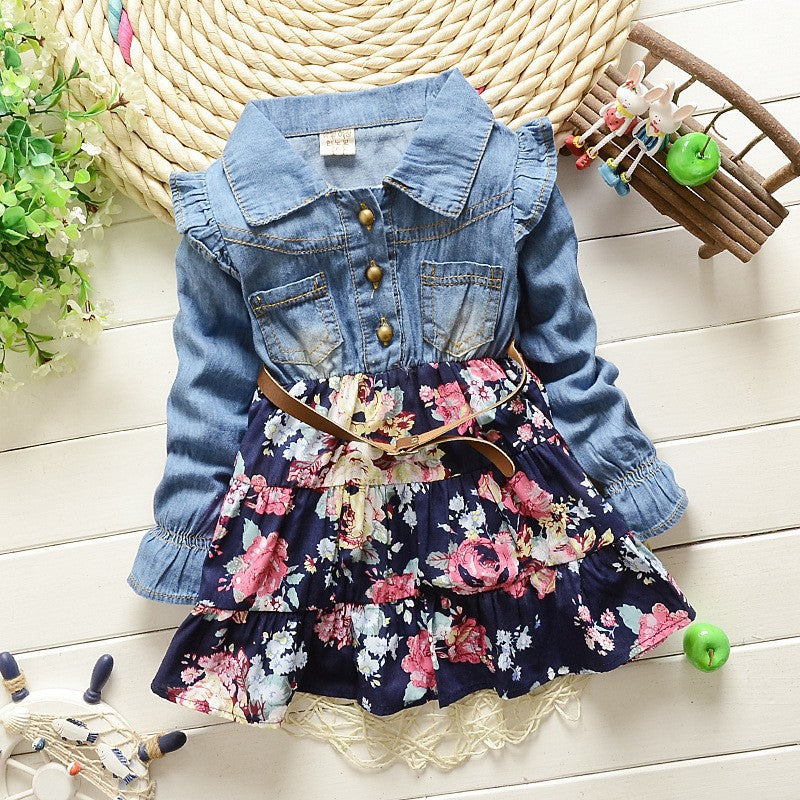 Denim and Floral Long Sleeve Dress