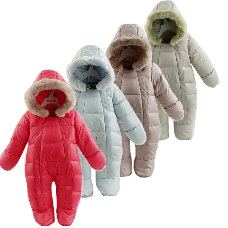 Versatile Down Snowsuit with Hood and Detachable Fur Trim