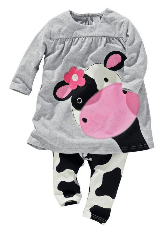 Daisy Cow Long Sleeve Top with Matching Cow Print Long Pants - 2pc Set