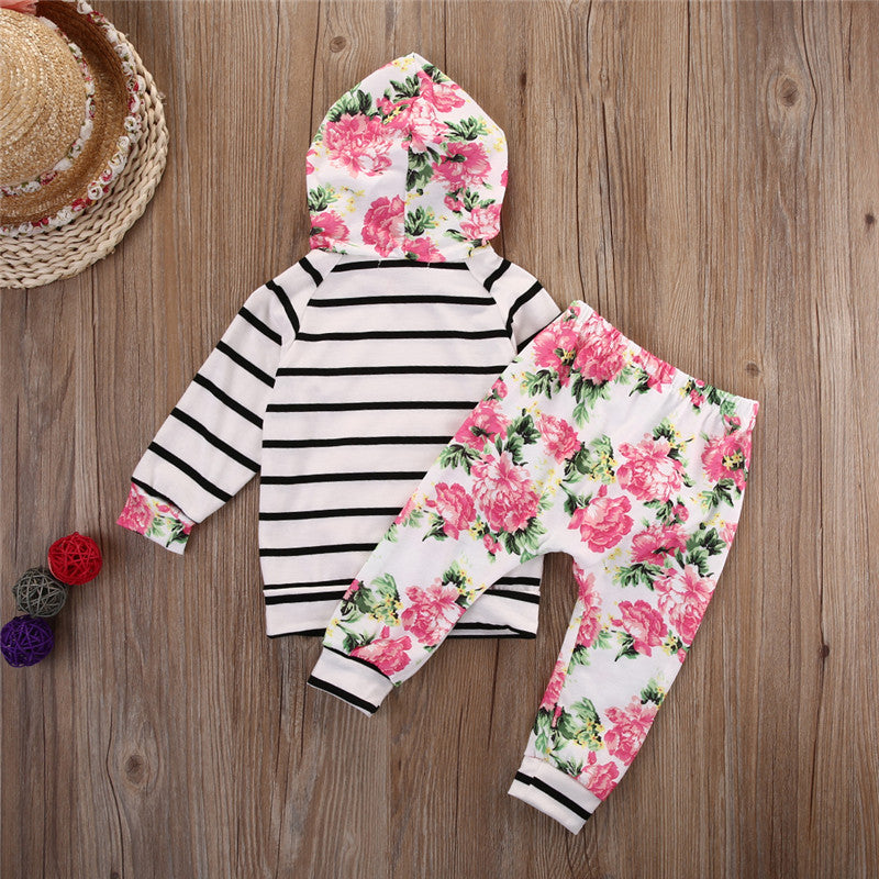 Floral and Stripe Hooded Pullover Top with Matching Long Pants - 2pc Set