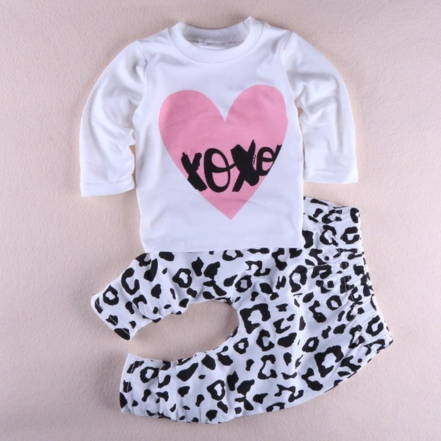 Cute Cartoon Print Long Sleeve T-Shirts and Long Pants - 2pc Set