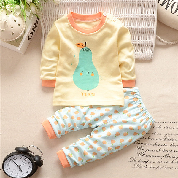 Various Cartoon Printed Long Sleeve Top and Matching Pants - 2pc Set