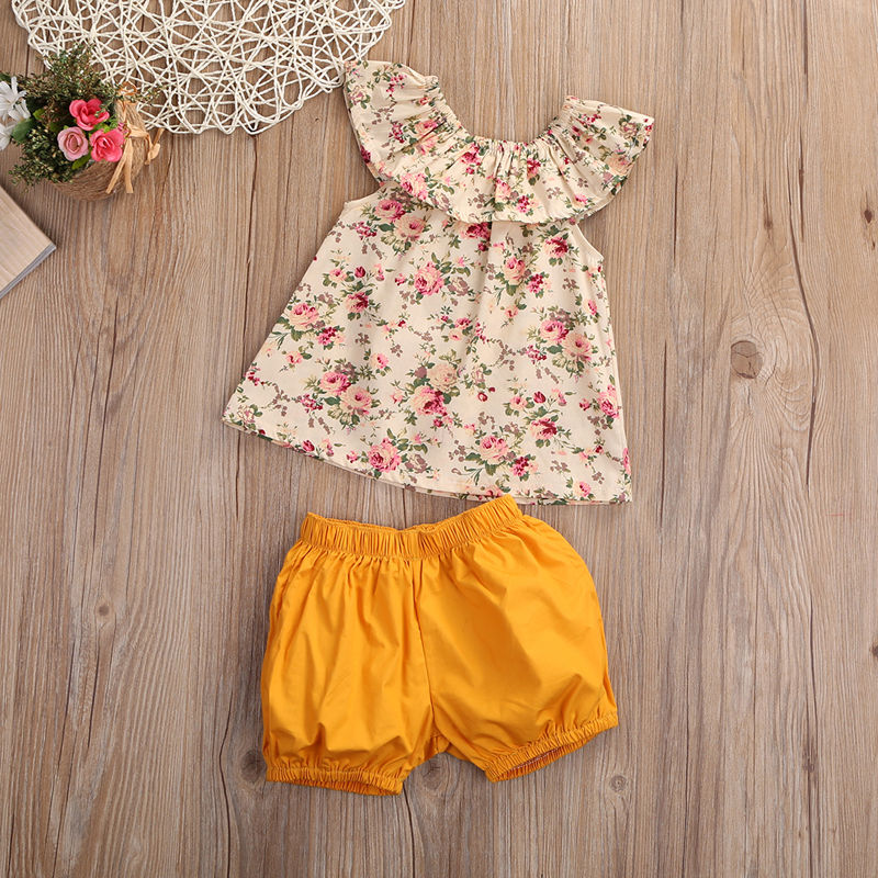 Floral Tank Top and Matching Shorts with Floral Bow - 2pc Set