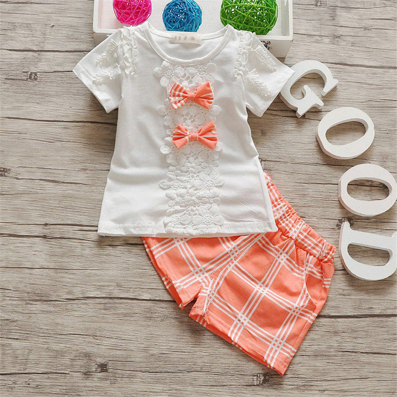 Fancy Floral Lace Bow T-Shirt and Matching Plaid Shorts - 2pc Set