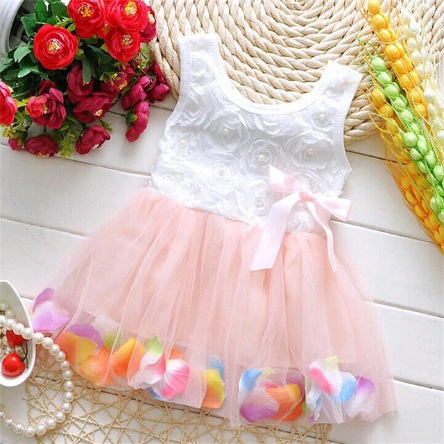 Sleeveless Flower Dress with Tutu and Ribbon Bow