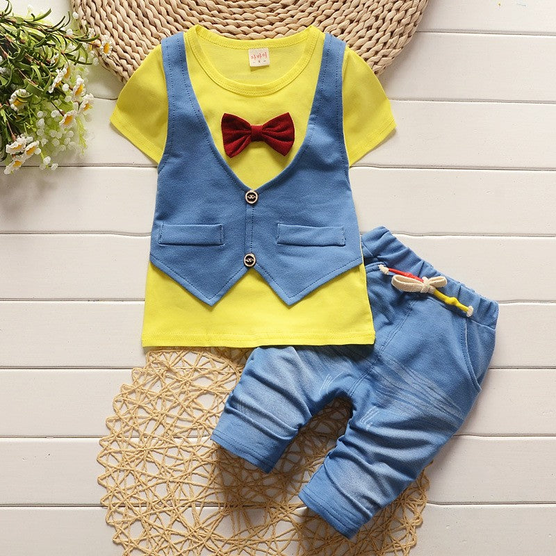 Boys Summer Outfit. Bow Tie and Vest Style T-Shirt with Matching Shorts - 2pc Set
