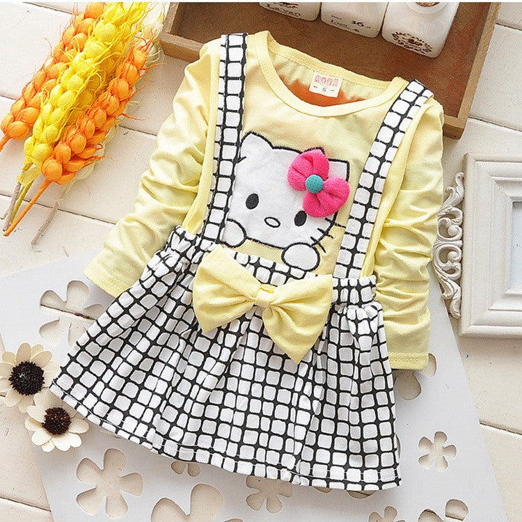 Long Sleeve Kitty and Bow Themed Dress