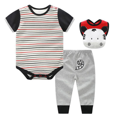 Set for Summer. Printed set with Bodysuit, Pants and Bib -3Pc Set