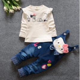 Kitten Themed Long Sleeve Blouse and Denim Overalls - 2pc Set