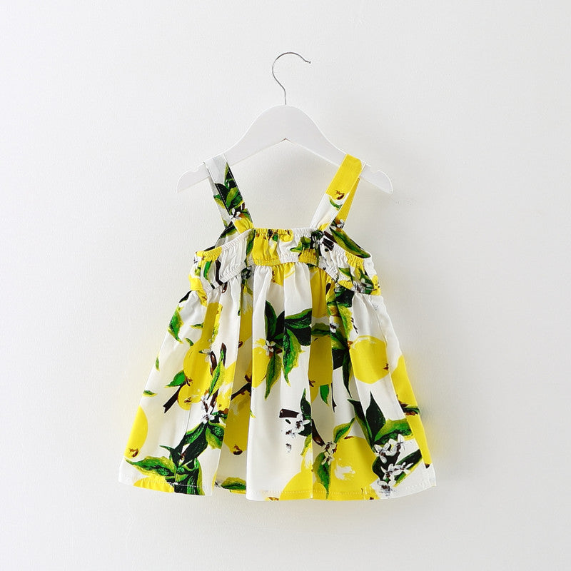 Sleeveless Lemon Print Strap Dress with Feature Bow