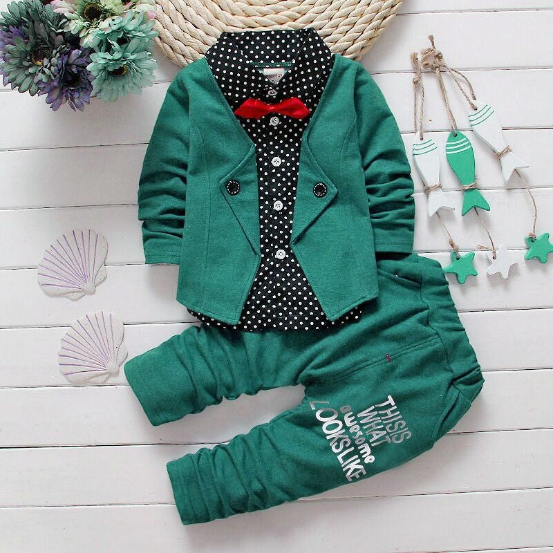 Smart Suit Outfit. Long Sleeve Shirt/Coat + Long Pants - 2pc Set