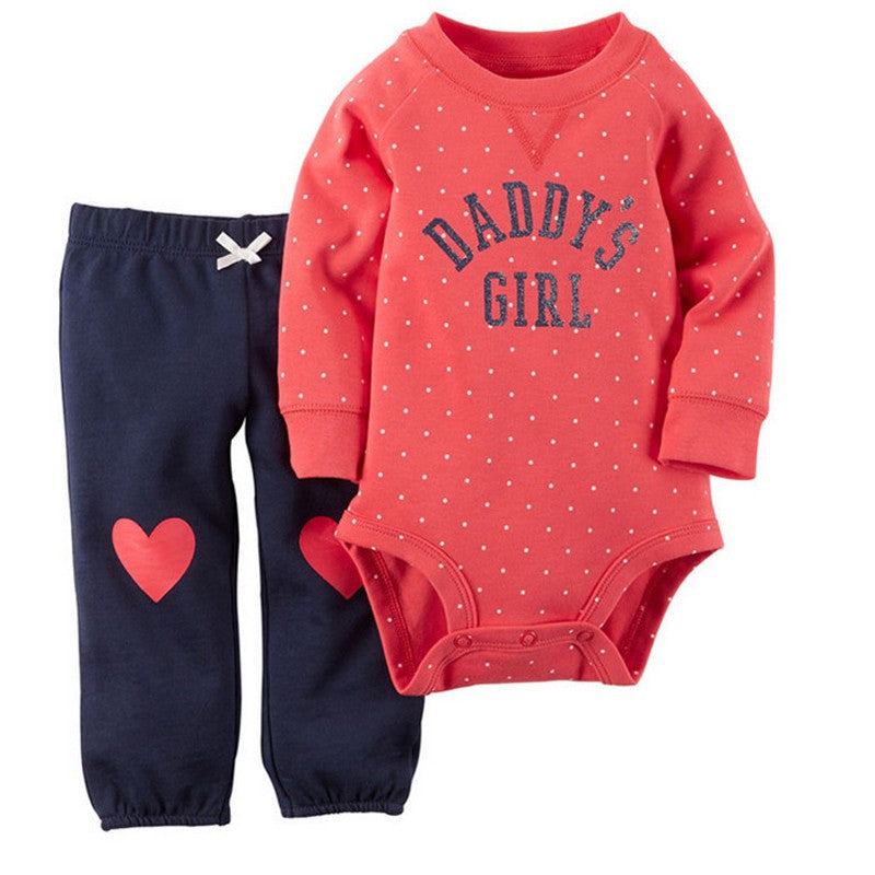 Daddy's Girl Bodysuit and Matching Long Pants with Hearts - 2pc Set
