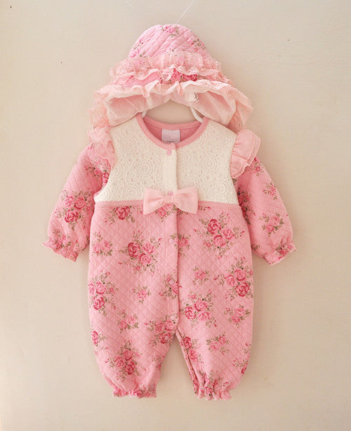 Beautiful Floral Romper with Lace, Frills and Matching Hat - 2pc Set