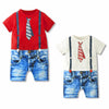 Horizontal Stripe Polo Shirt and Matching Long Pants - 2pc Set