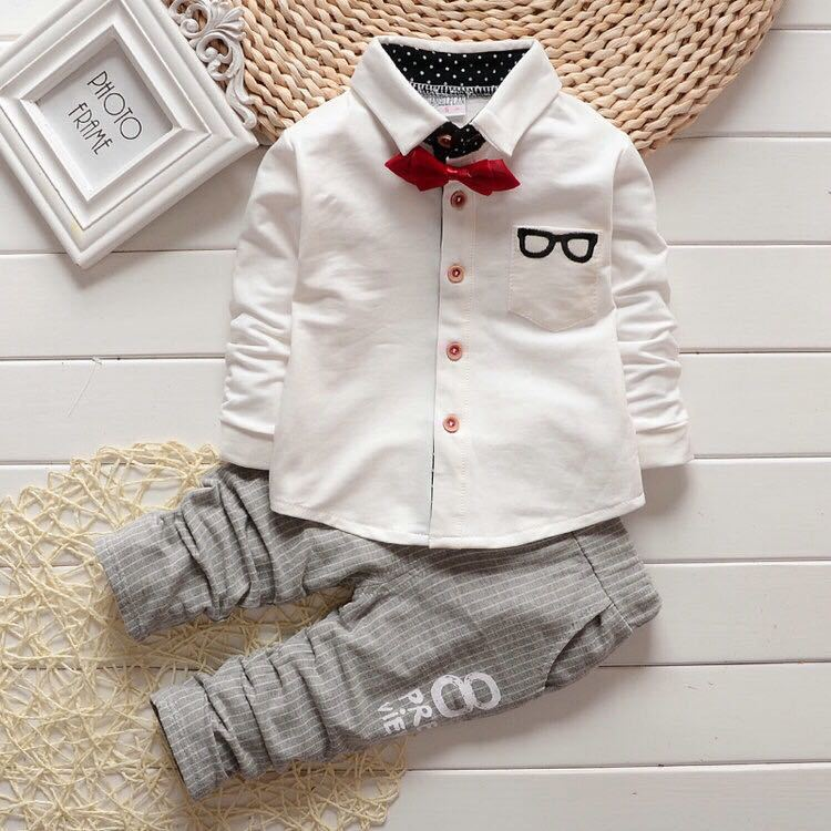 Suave Gentleman's Outfit with Long Sleeve Shirt and Pin Stripe Long Pants - 2pc Set
