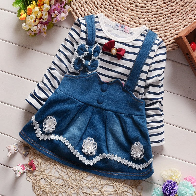 Striped Long Sleeve T-Shirt and Strap Dress with Flowers - 2pc Set